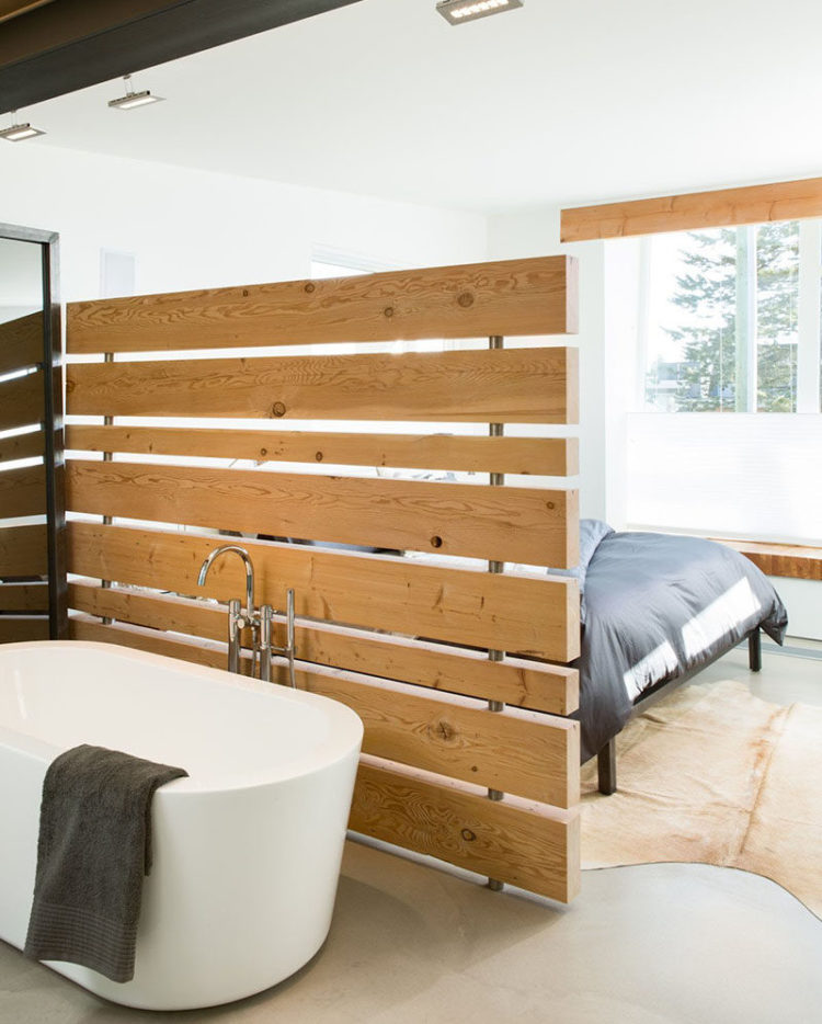 Slatted wood wall divider