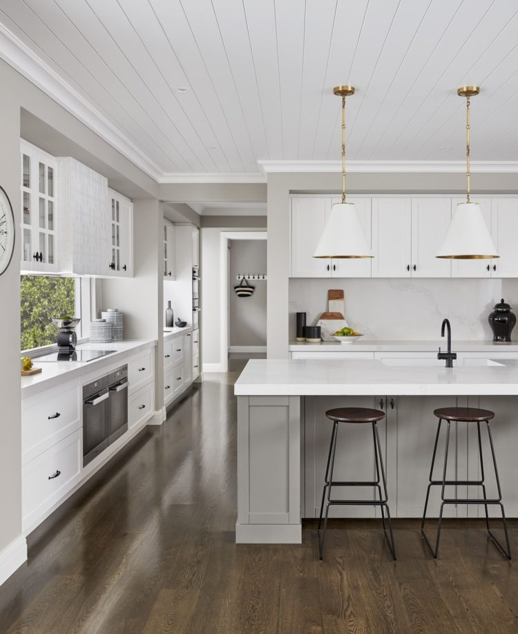 Kitchen design wood and white