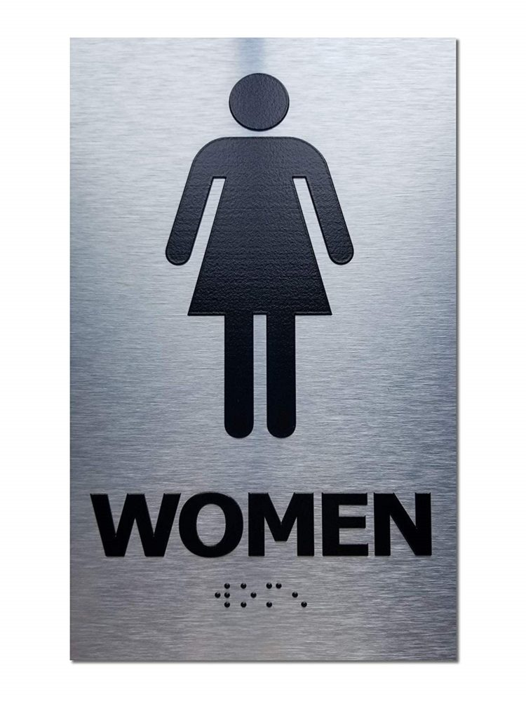 bathroom signs height