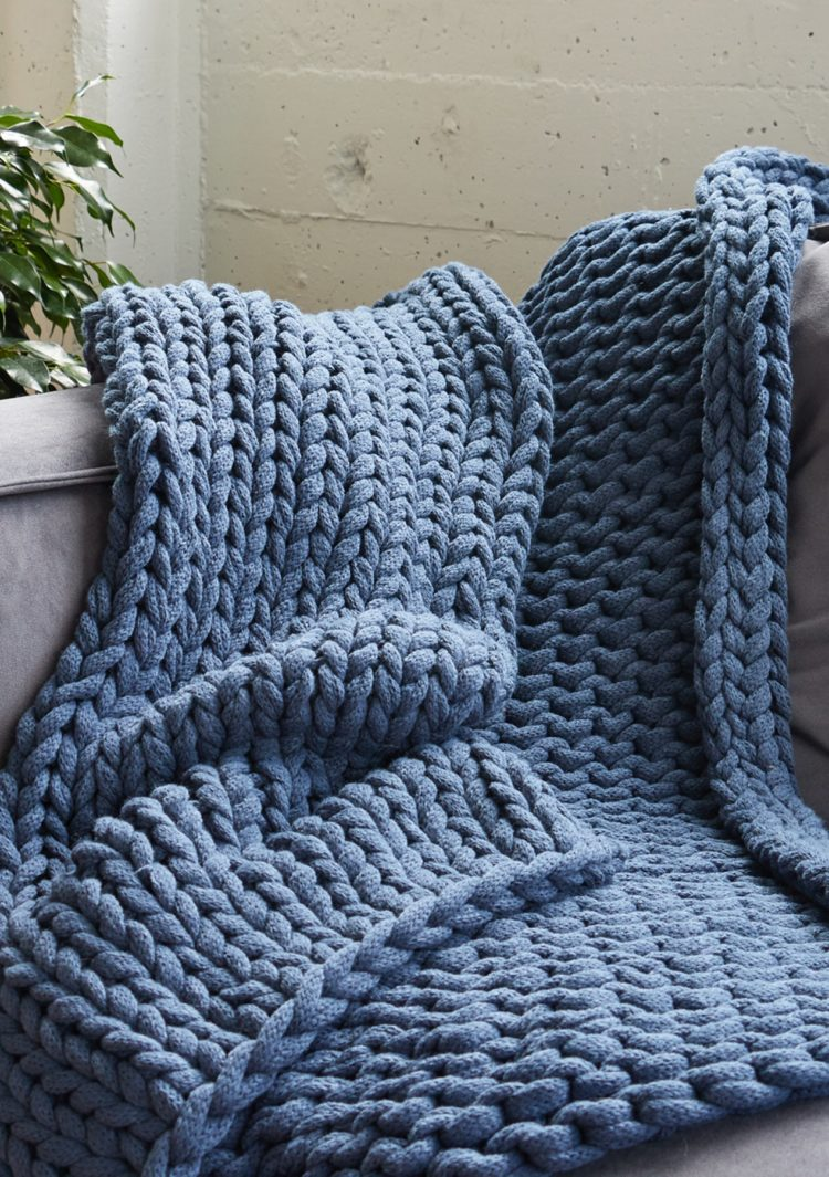 chunky knit blanket in stores