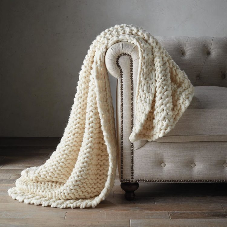 chunky knit blanket pattern by hand