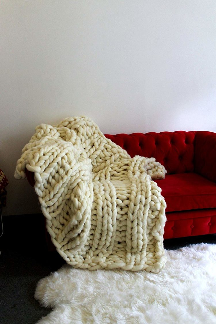 chunky knit blanket sugar and cotton