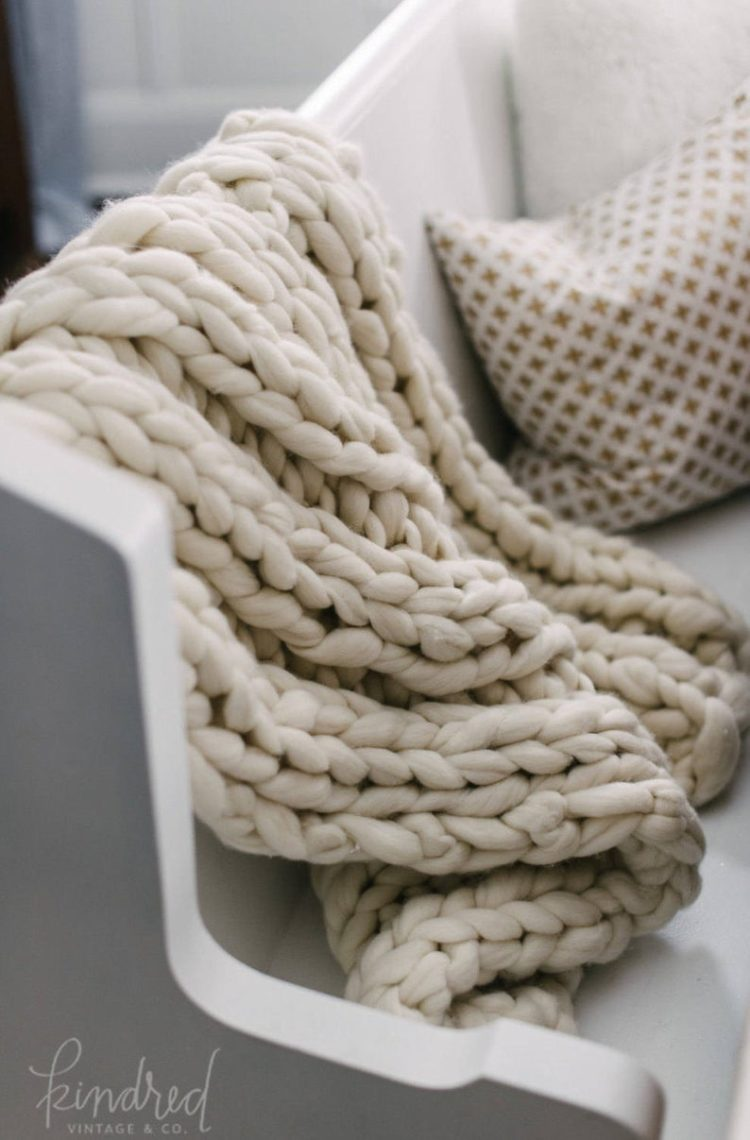chunky knit blanket ribbed