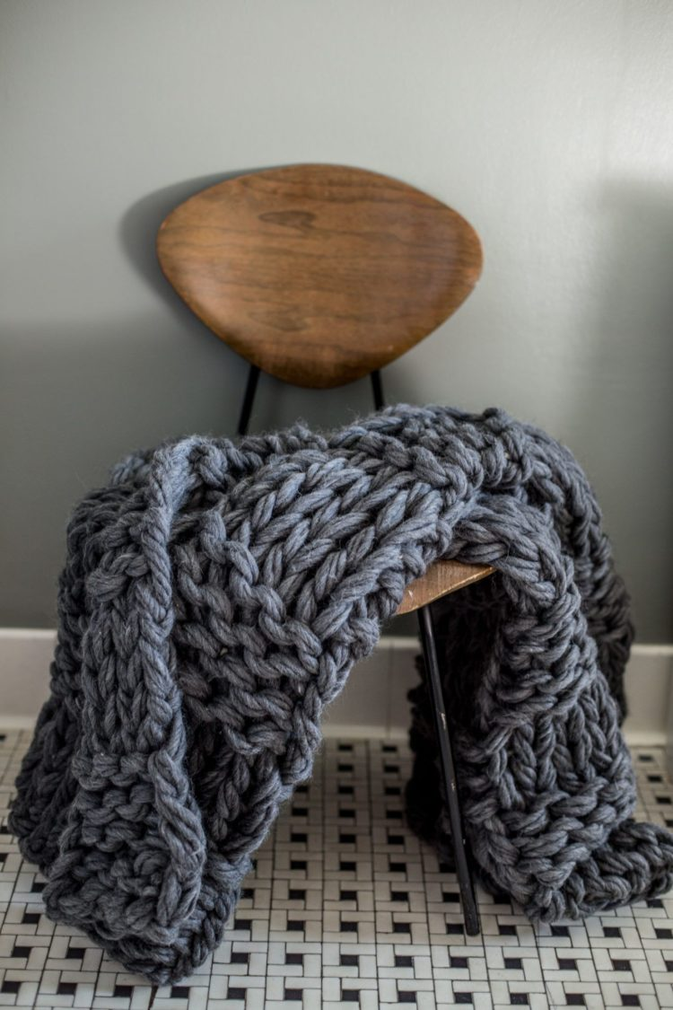chunky knit blanket squares