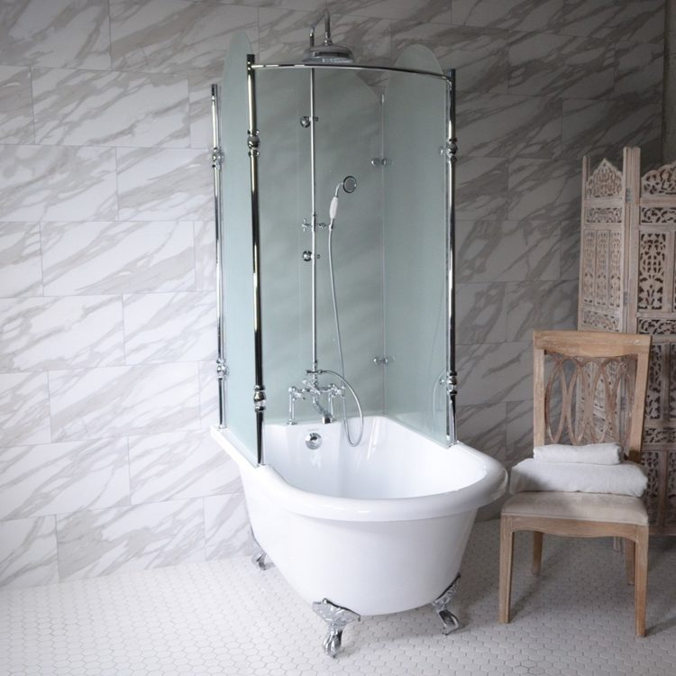 clawfoot tub glass