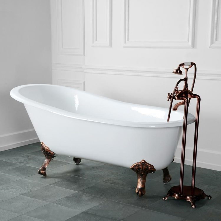 clawfoot tub glass shower surround