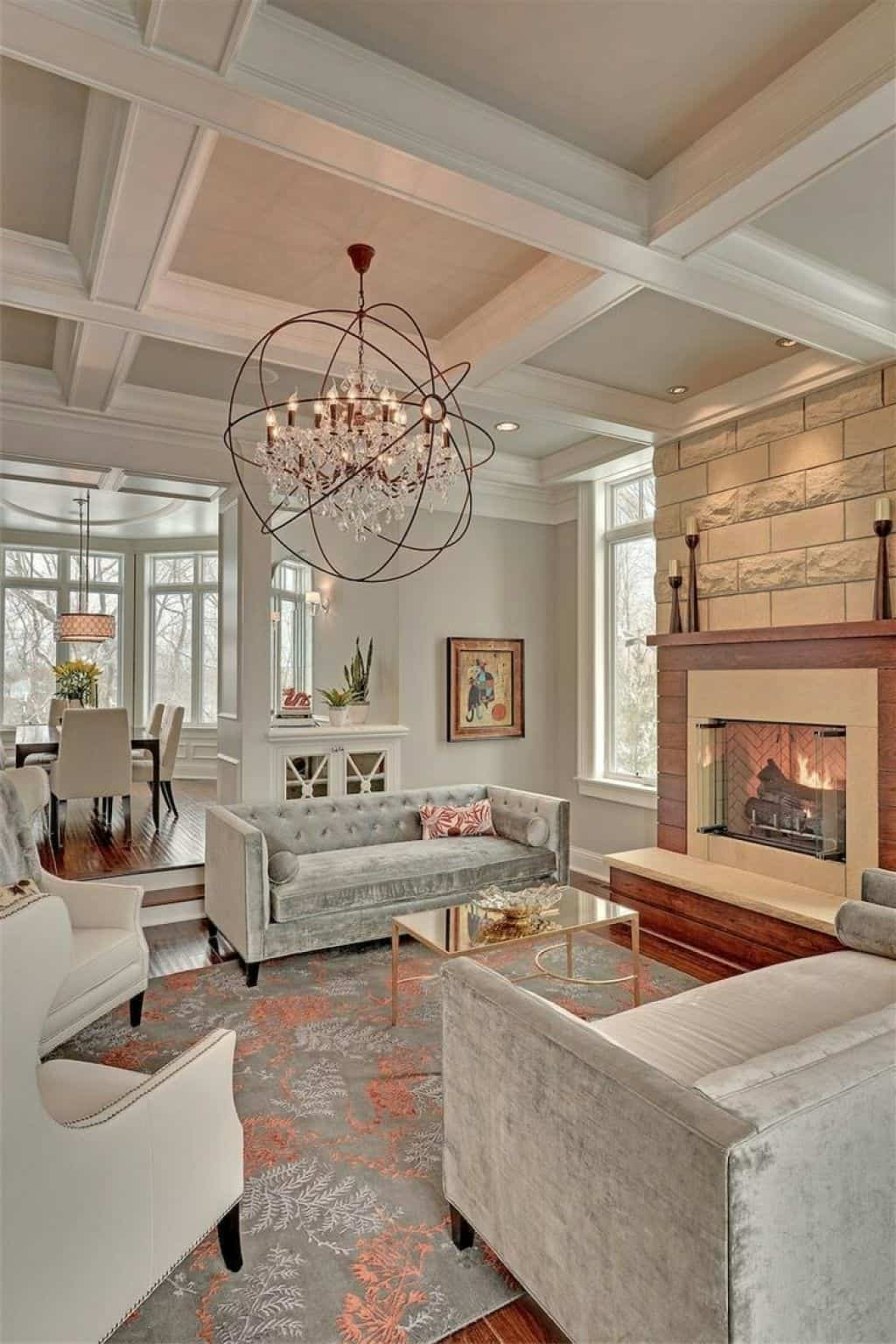 coffered ceiling and fireplace
