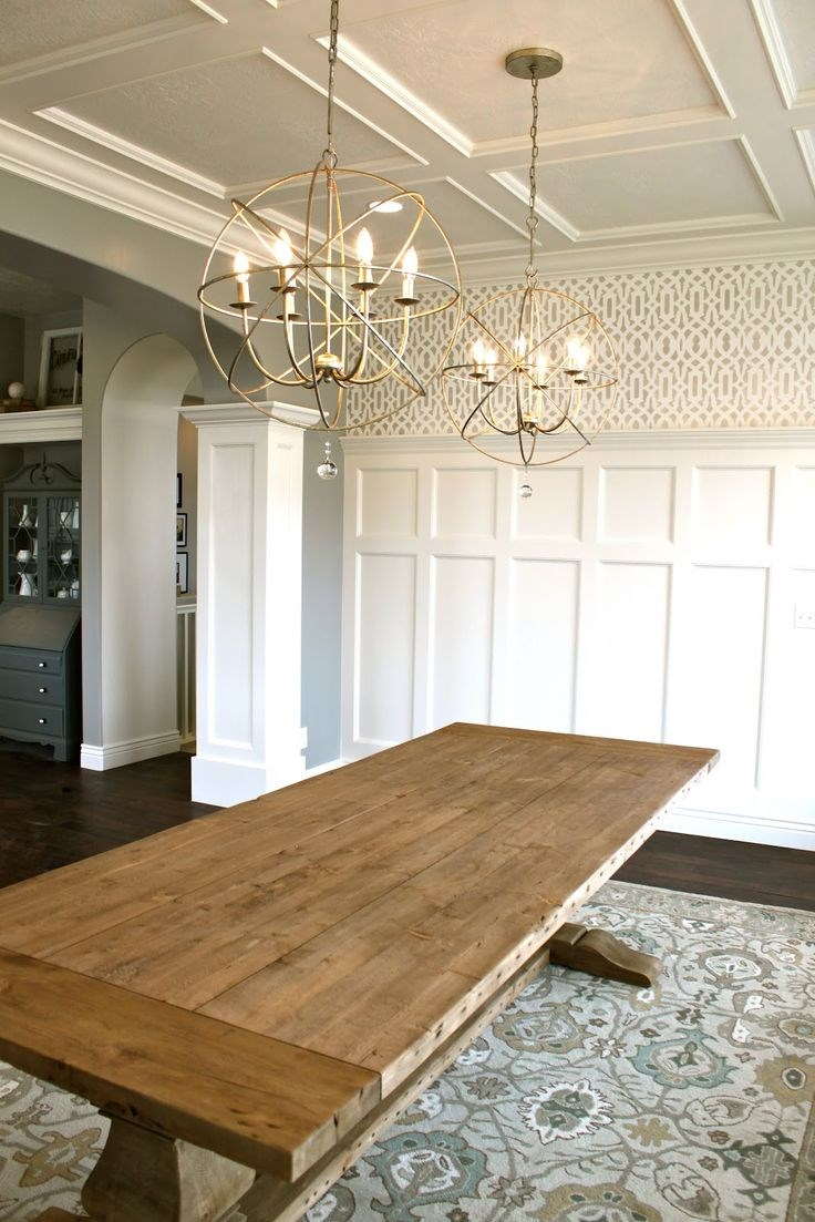 coffered ceiling above kitchen island
