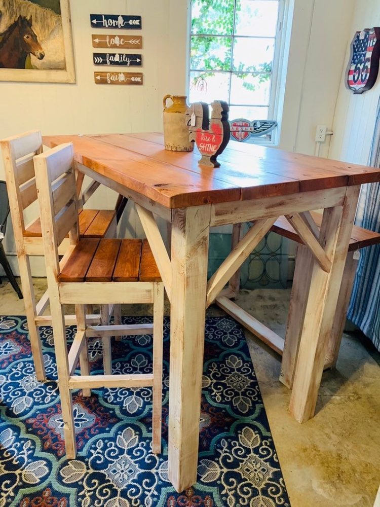 counter height table with bench