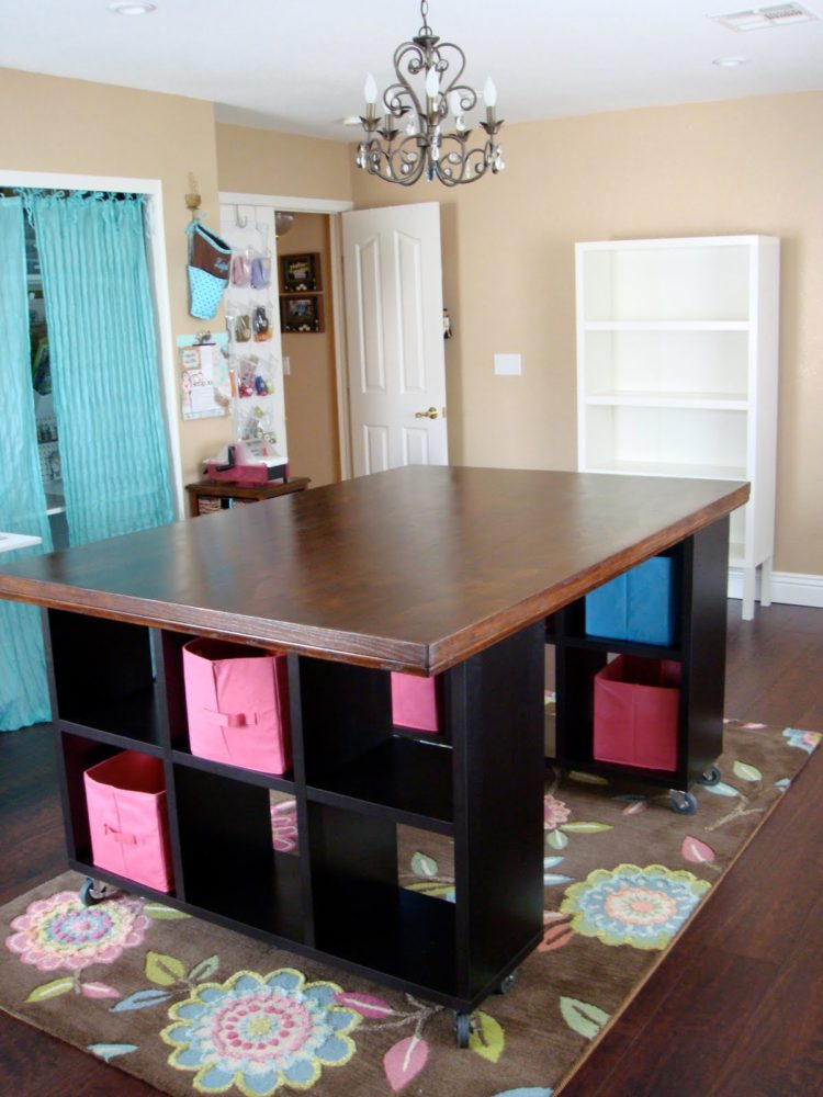 craft table in living room