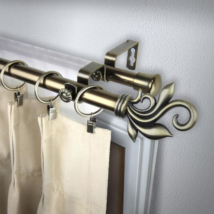 double curtain rod for corner windows