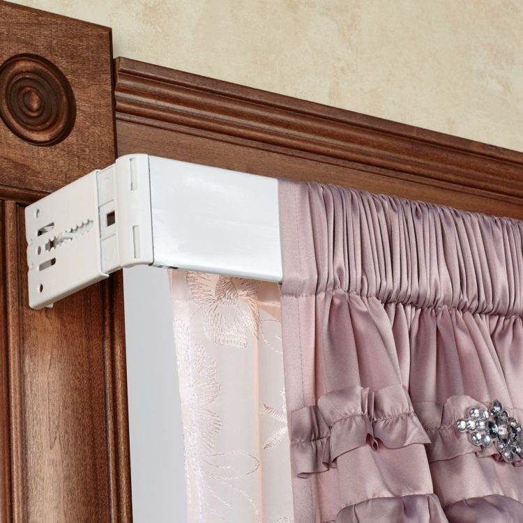 double curtain rod from ceiling