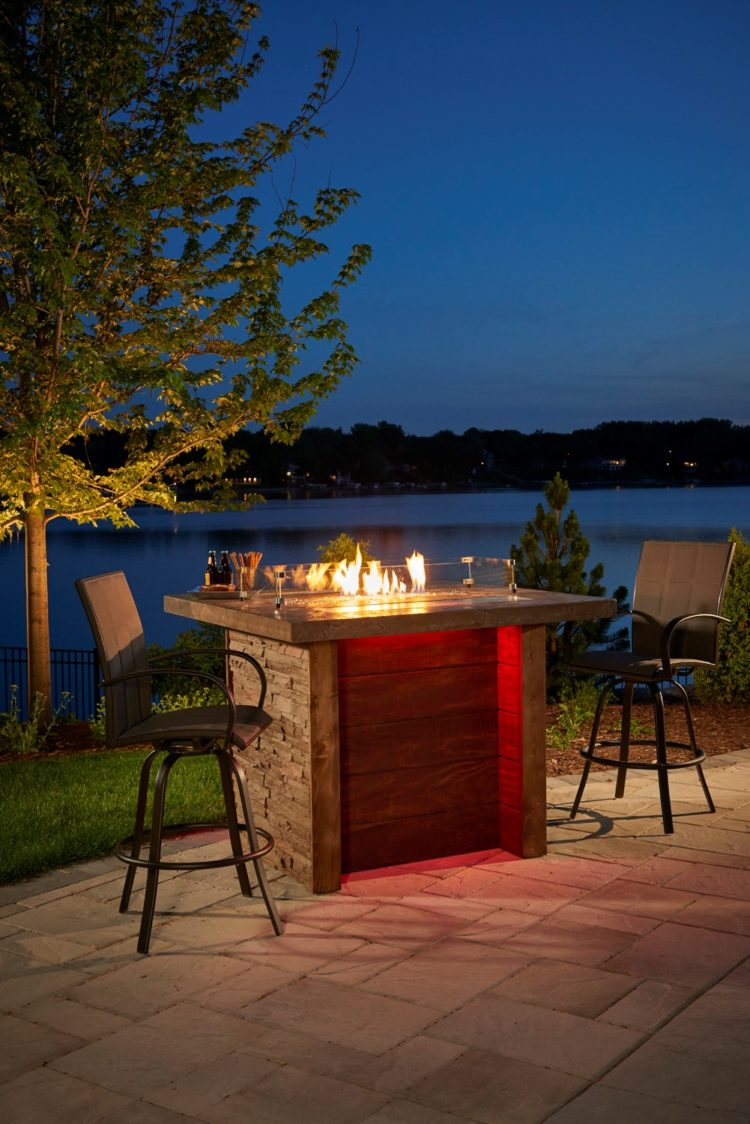fire pit table for wood deck