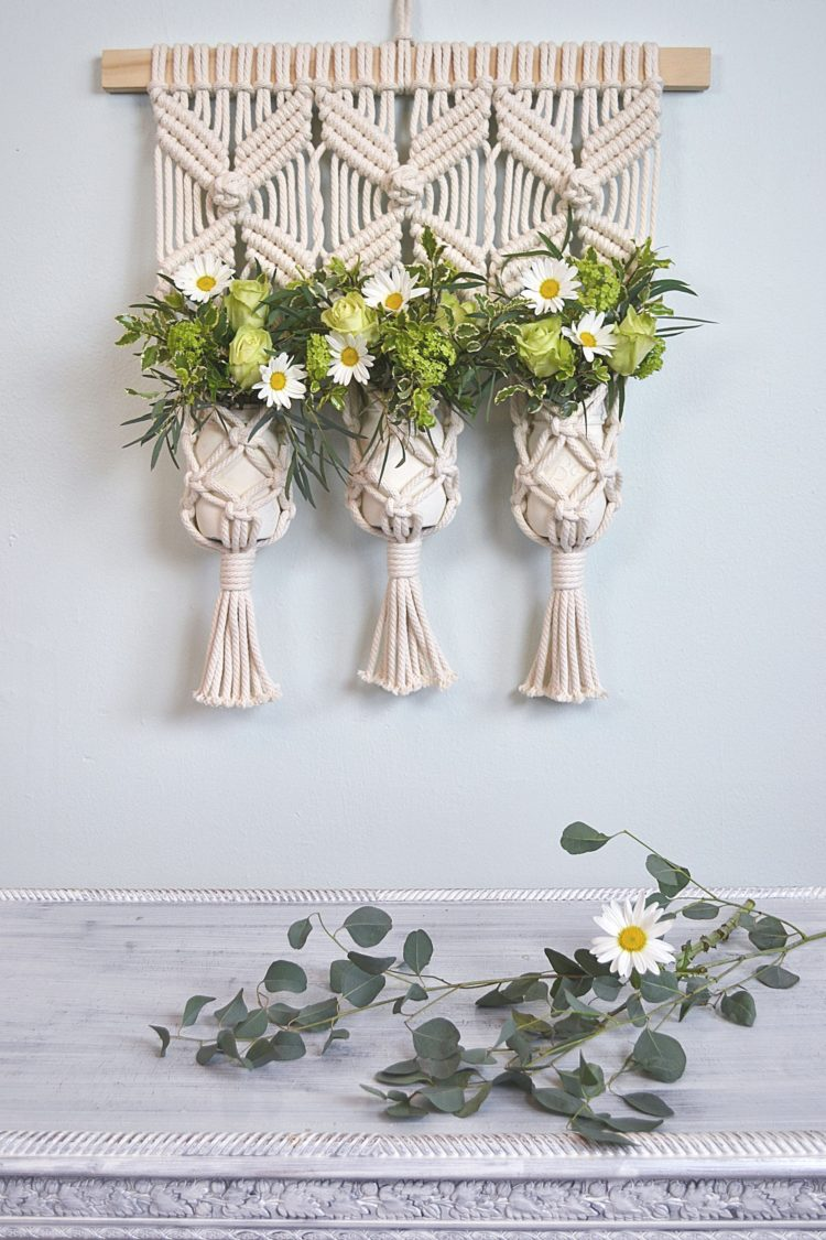 macrame wall hanging in store
