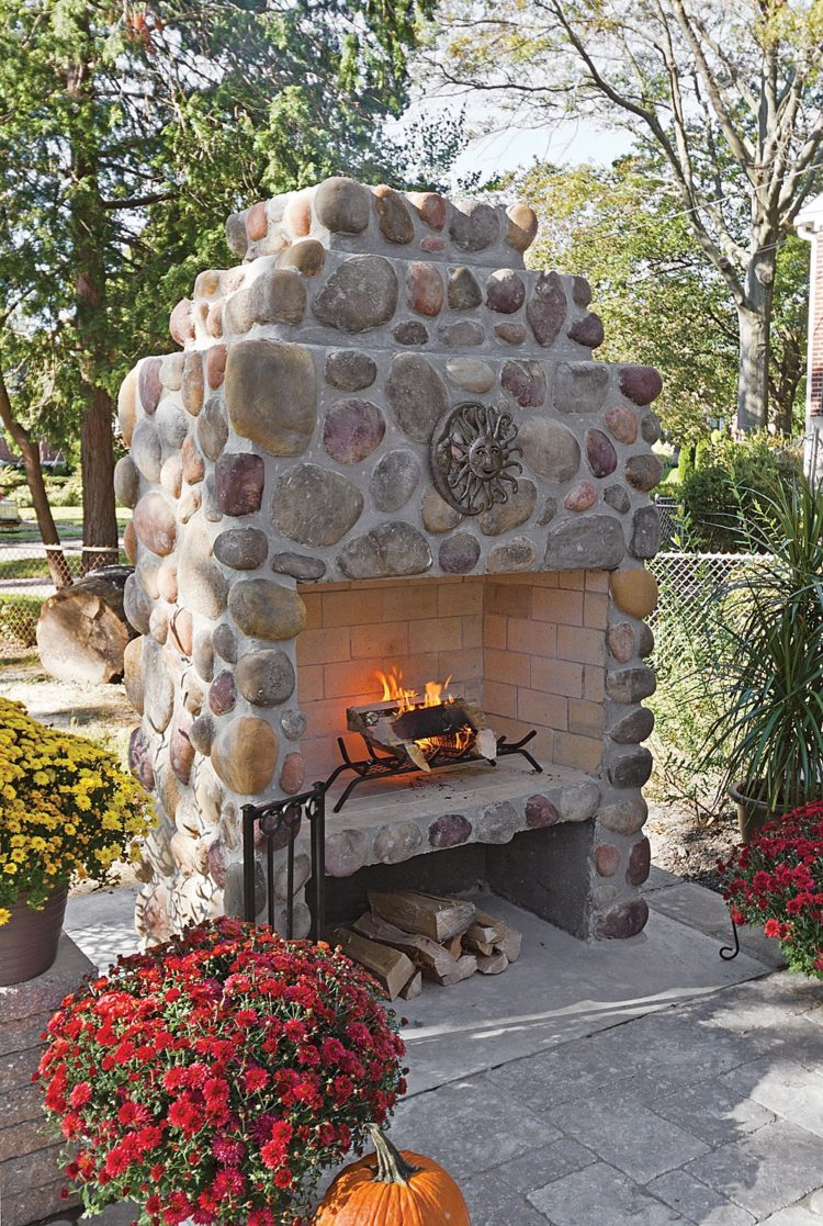 outdoor fireplace mantel decor