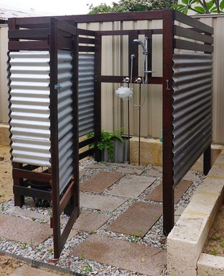 outdoor shower on house