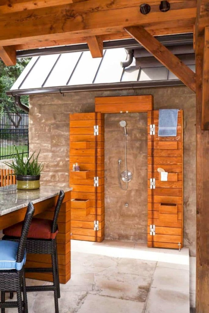 outdoor shower on pavers