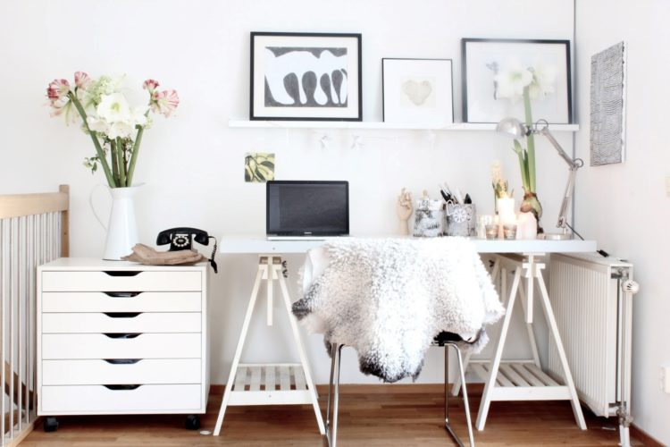 white desk gold accents