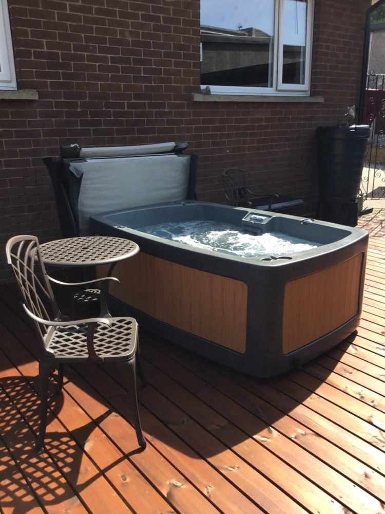 portable hot tub on trailer