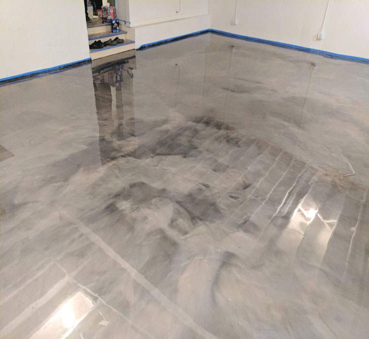 garage floor epoxy in basement