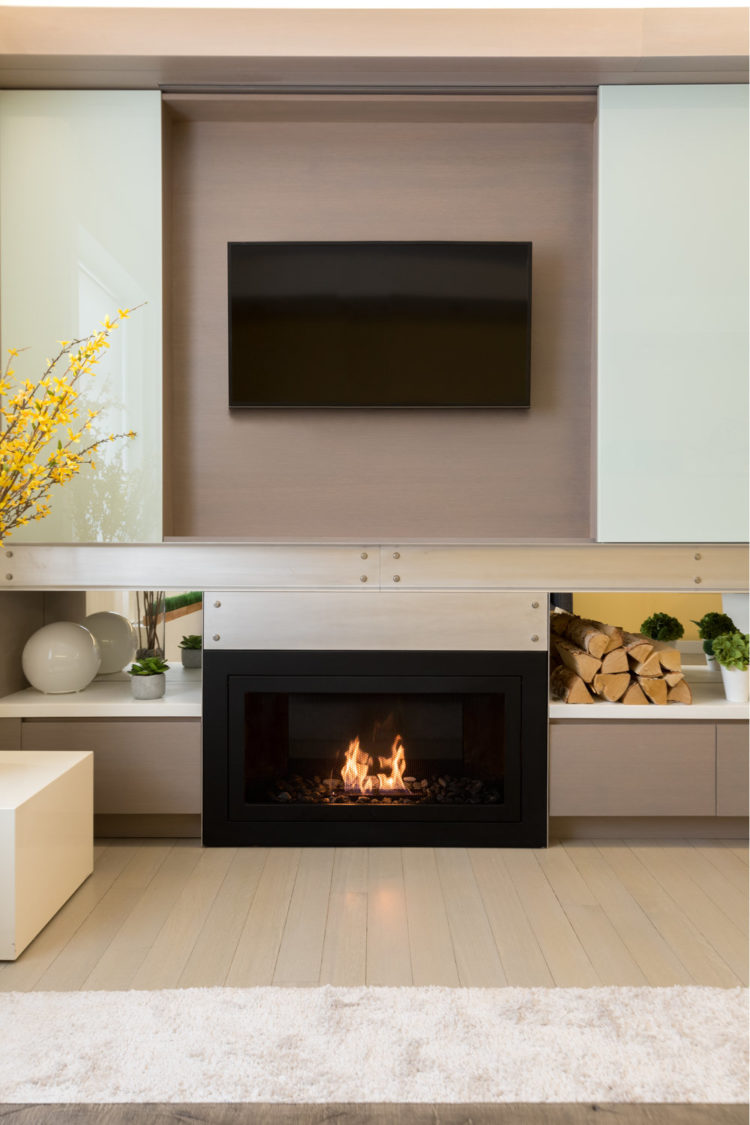 ventless gas fireplace on interior wall