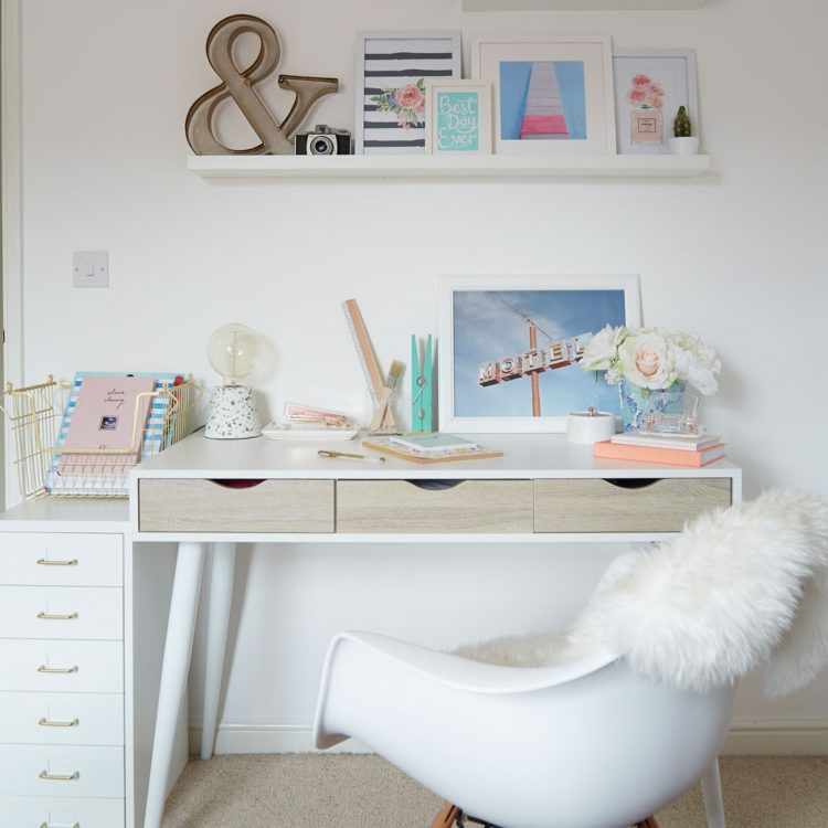 white desk in store