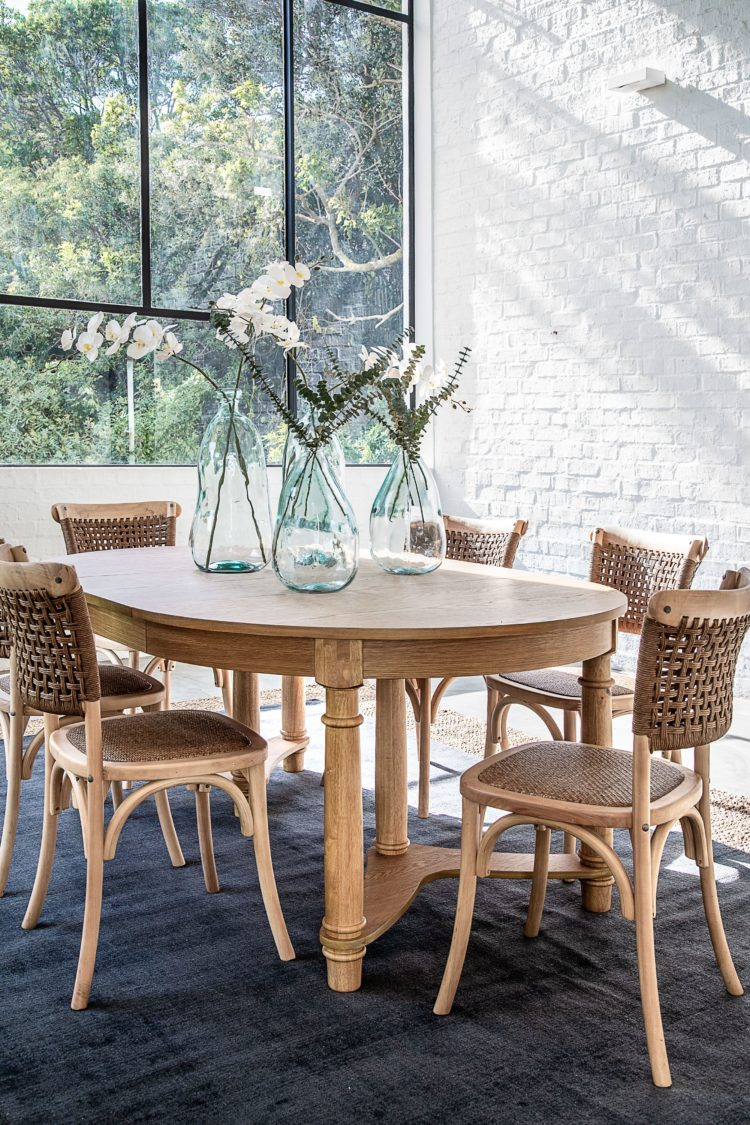 wood table metal chairs