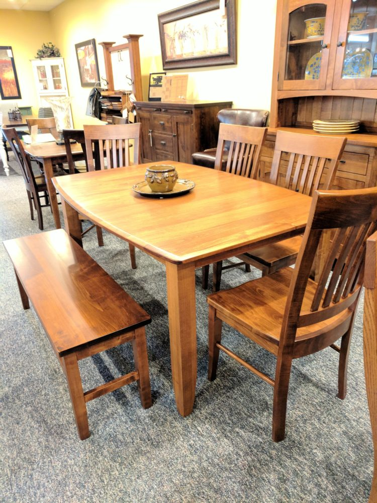 wood table grey chairs