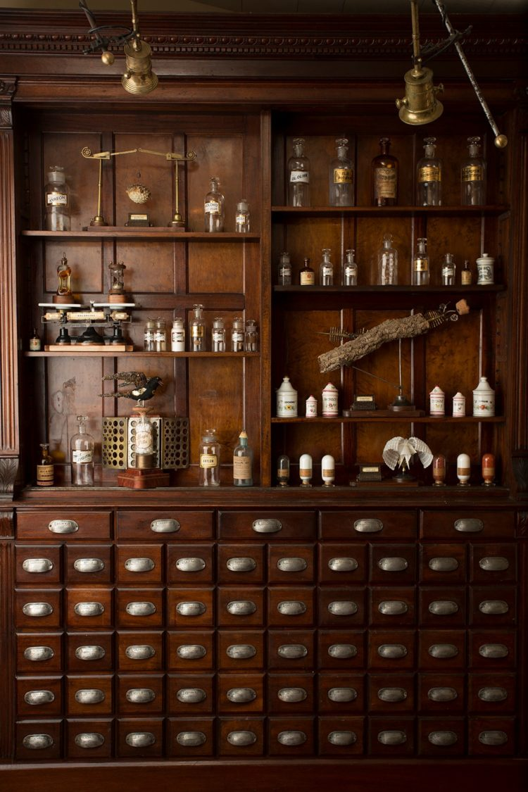 yellow apothecary cabinet