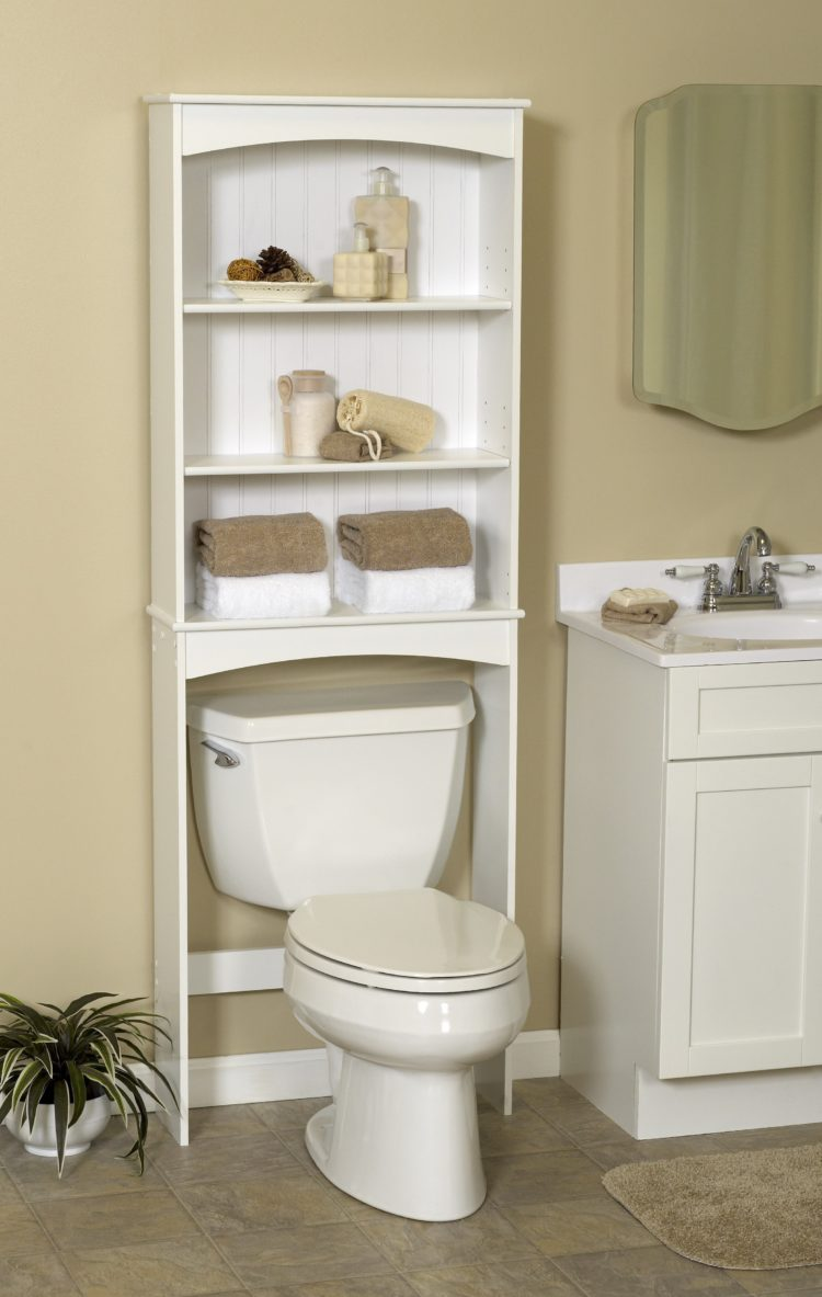 over the toilet storage for towels