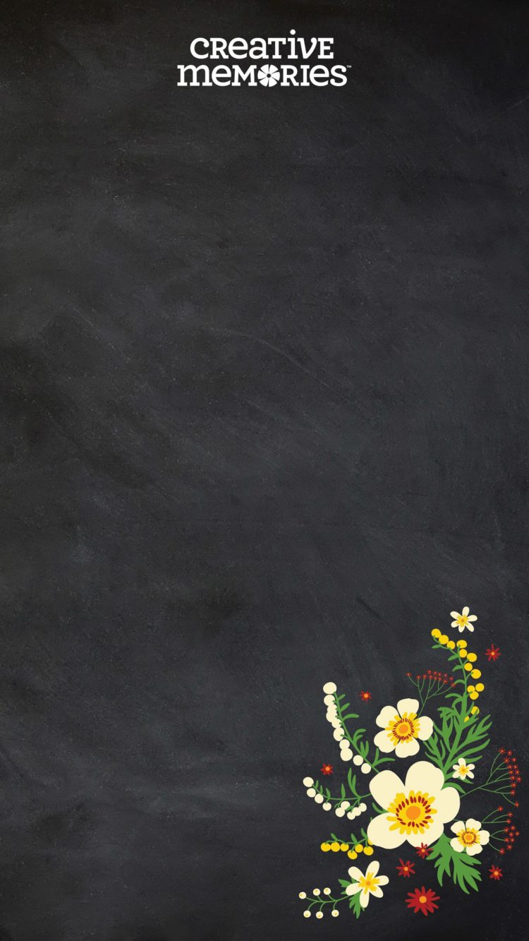 chalkboard background with flowers
