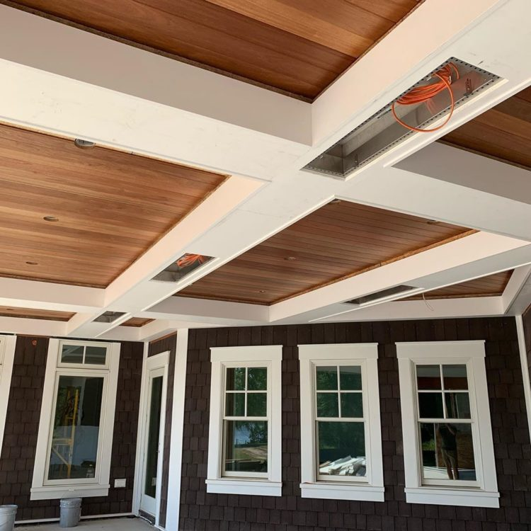 coffered ceiling using faux beams