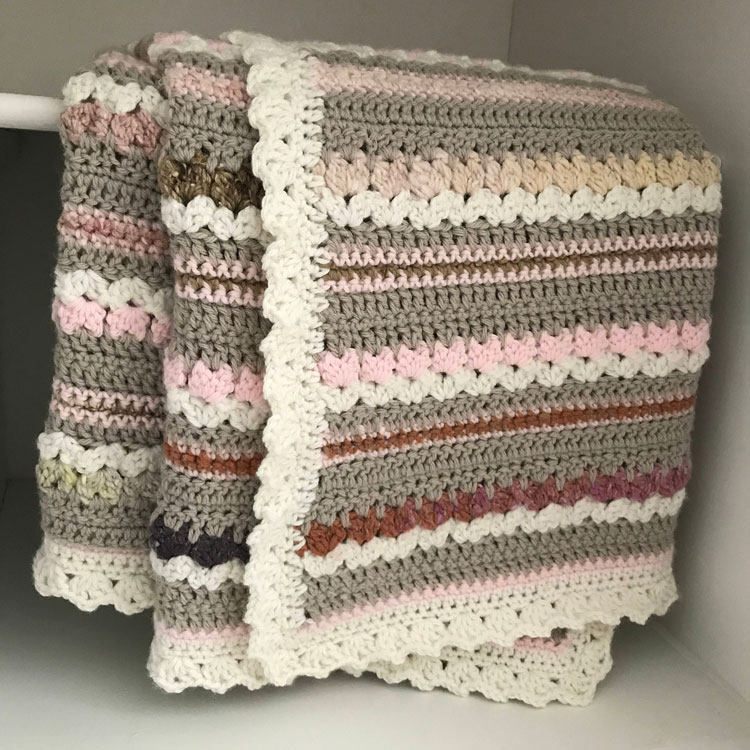 crochet blanket made in strips