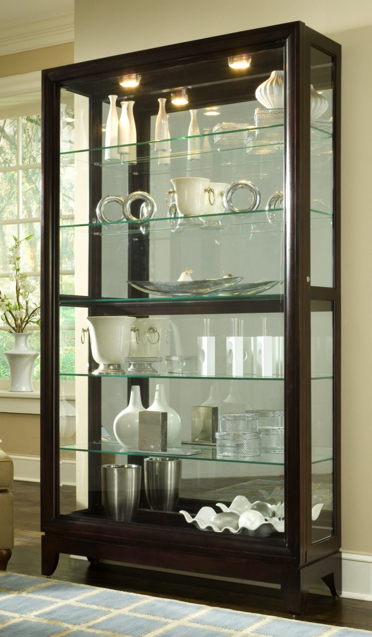 curio cabinet in dining room