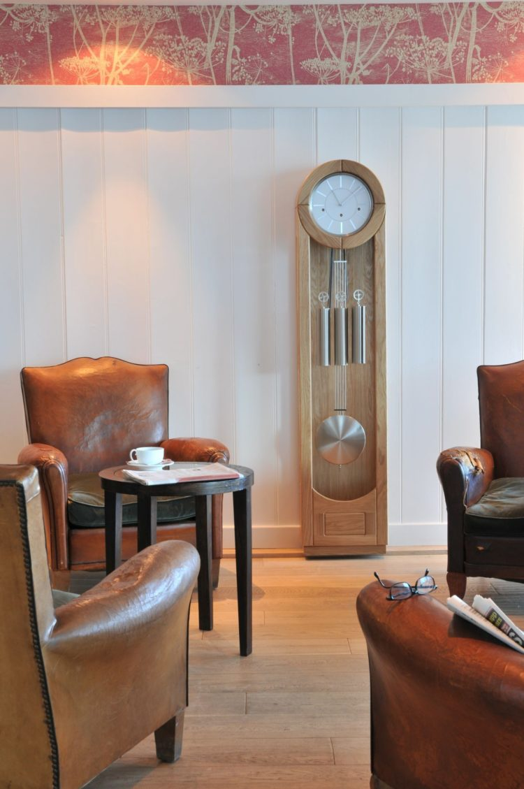 grandfather clock in dining room