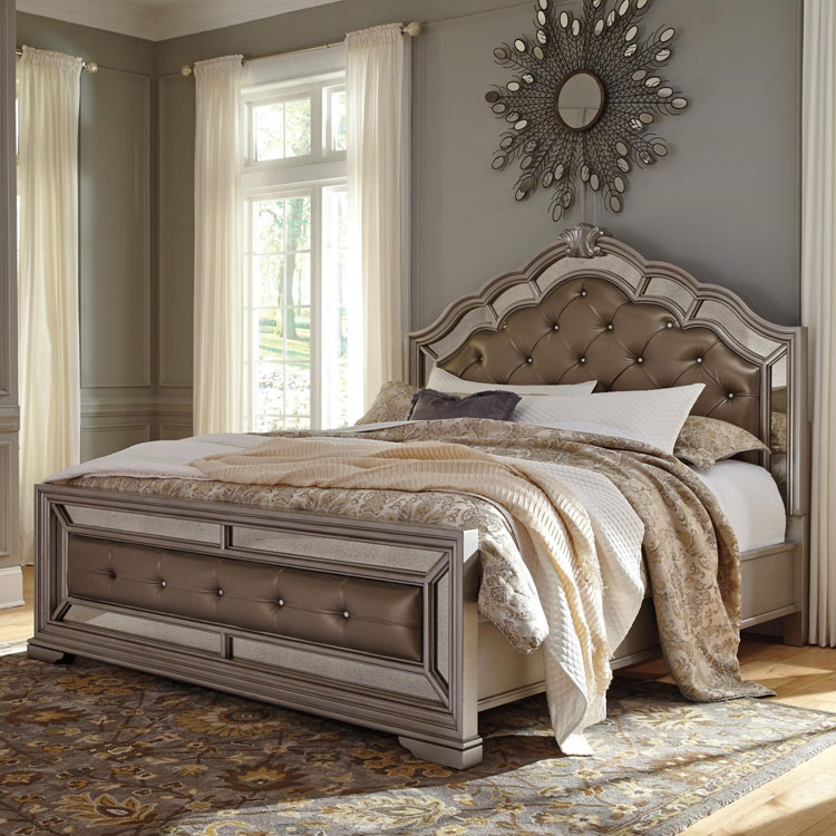 king bed gray wood