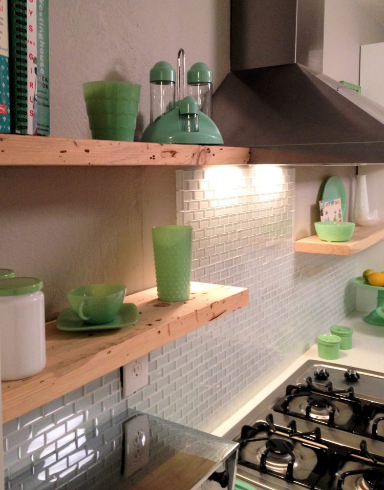 subway tile backsplash gray