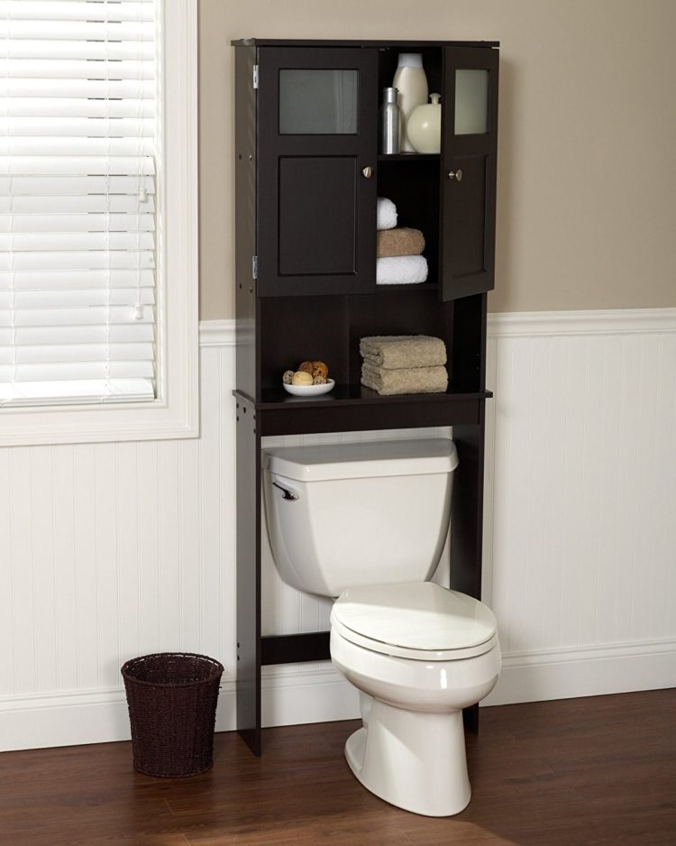 over the toilet storage in brown