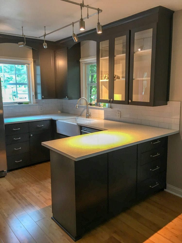 subway tile backsplash espresso cabinets