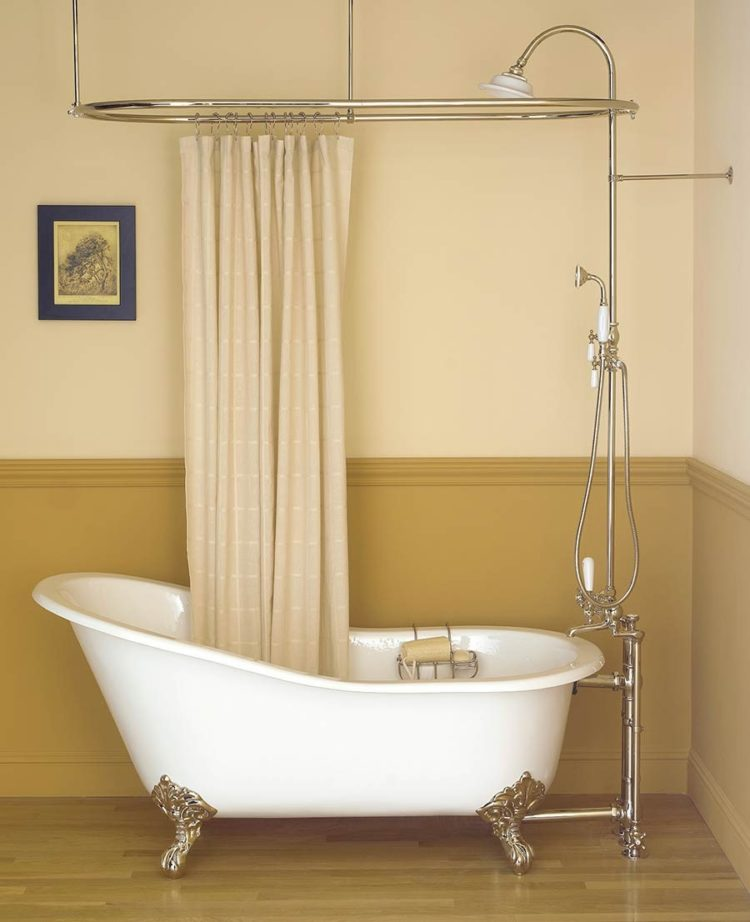 shower curtain rod one wall