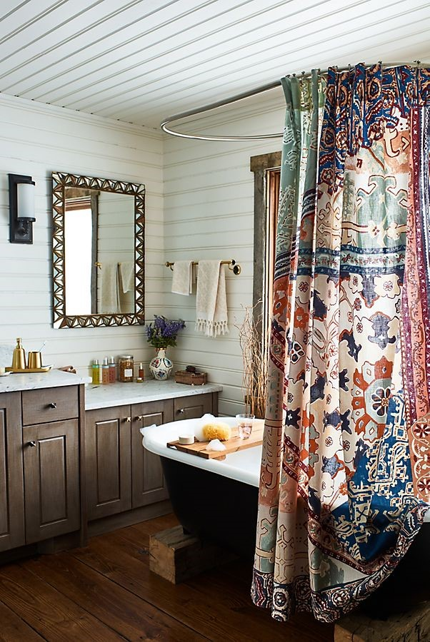 shower curtain rod for slanted ceiling