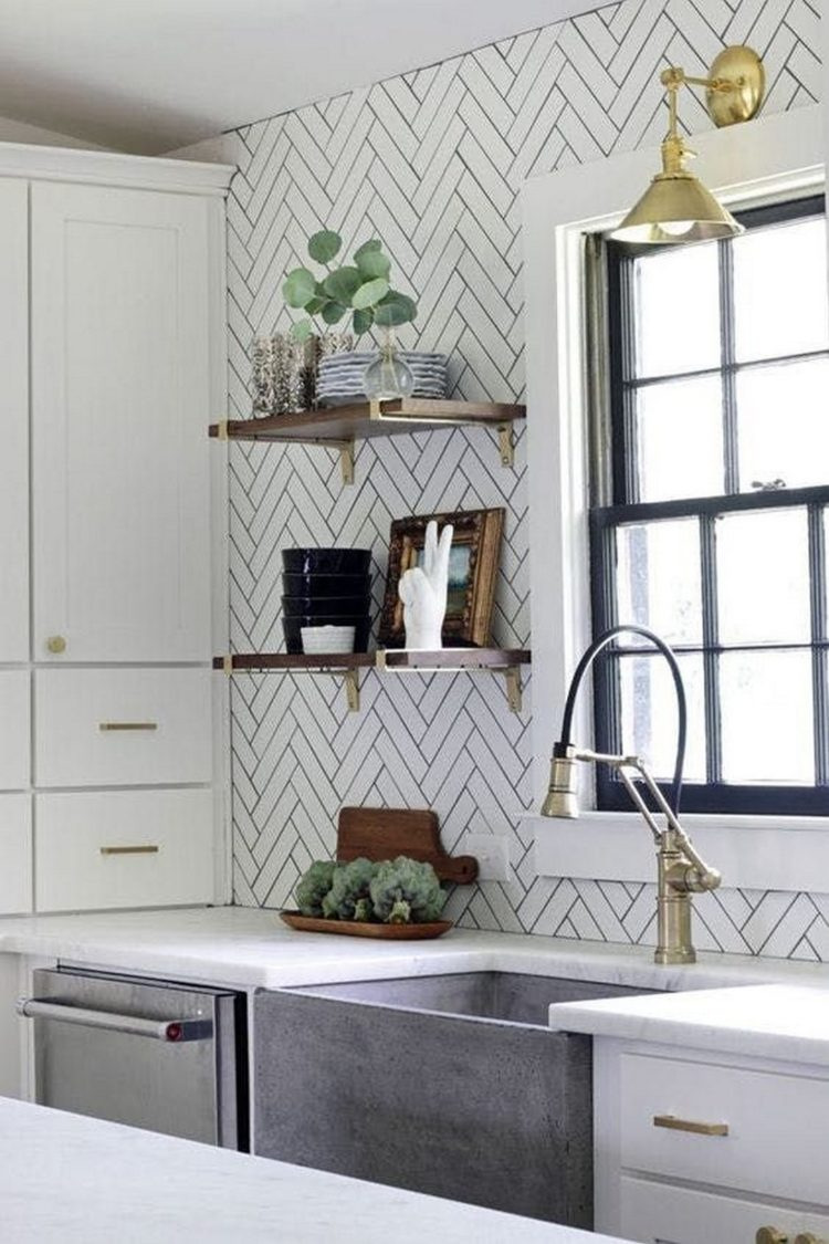 subway tile backsplash in corner
