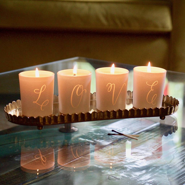 votive candles in holders